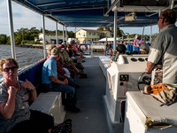 Departure on the sunset Everglades tour boat.